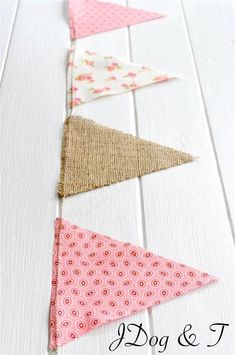 HESSIAN FLORAL FABRIC BUNTING RUSTIC VINTAGE SHABBY CHIC WEDDING CORAL PINK BABY