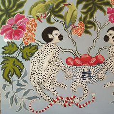 Paige Gemmel (@pgemmel) • Instagram photos and videos Chinoiserie Chic, Chinoiserie Fabric, Monkey Art, Lion Dog, Typography Prints, Illustrations And Posters, Sculpture, Pattern Wallpaper, Painting Inspiration