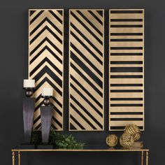 Add sleek, modern style to your walls with the Uttermost Zahara Gold Wall Panels - Set of 3 . This set of three tall metal wall panels are enhanced. Gold Wall Decor, Metal Wall Decor, Diy Wall Decor, Gold Metal Wall Art, Wall Decorations, Wood Wall Design, Antique Wall Decor, Wall Panel Design, Modern Wall Decor
