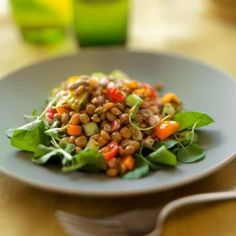 Grilled-Vegetable Salad with Lentils #MeatlessMonday