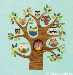Print by Linda Solovic Nine Owls A Peering 8.5 x 11, $20.00