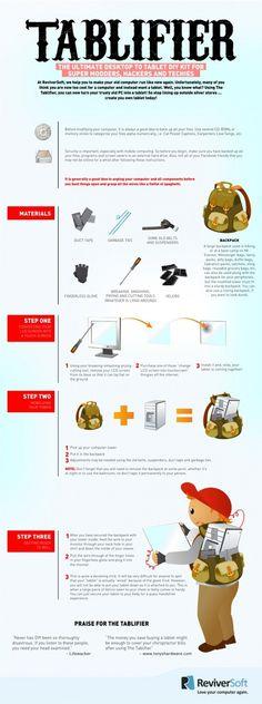 Convierte tu viejo ordenador de sobremesa en un tablet. #infografía #infographic #humor