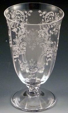 Fostoria Meadow Rose Vintage Etched~ I etched glassware ~ I'm with you plus I love cut glass, too. Fostoria Glassware, Fostoria Crystal, Etched Glassware, Crystal Glassware, Antique Glassware, Cut Glass, Glass Art, Rose Vintage, Great Wedding Gifts