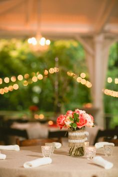 Nashville Garden Wedding | CJ's Off the Square | Burlap and Lace, Peach Roses - Photo: Zach + Jody Gray