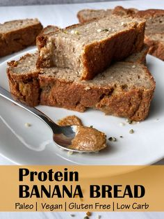 This healthy, high protein banana bread is Vegan, gluten free, Paleo and easy to make. It's just what you need if you're looking for a moist Vegan banana bread that is only sweetened with bananas, low carb and packed with protein. This is the best protein banana bread recipe! #bananabread #vegan #highprotein #paleo Protein Banana Bread, Banana Bread Ingredients, Vegan Banana Bread, Easy Banana Bread, Easy Bread Recipes, Snack Recipes, Paleo Recipes, Free Recipes, Vegan Gluten Free Breakfast