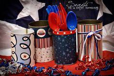 Secrets of a Super Mommy: of July. Cover cans with scrap paper to hold your utensils Bbq Decorations, Blue Jello, Laffy Taffy, Pig Roast, Let Freedom Ring, July Crafts, Paint Cans, Yummy Cakes, Independence Day