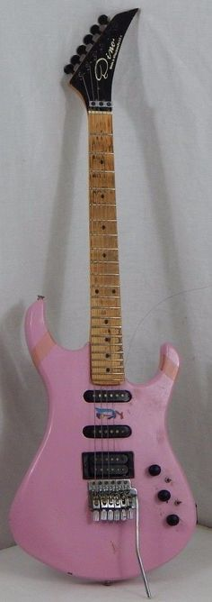 RARE Dino Pink Electric Guitar w Early Floyd Rose Used as Is Made in USA Parts…