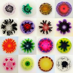 William Loveless glue paintings. watercoulours suspended in glue.  Interesting experimentation with paint and colour