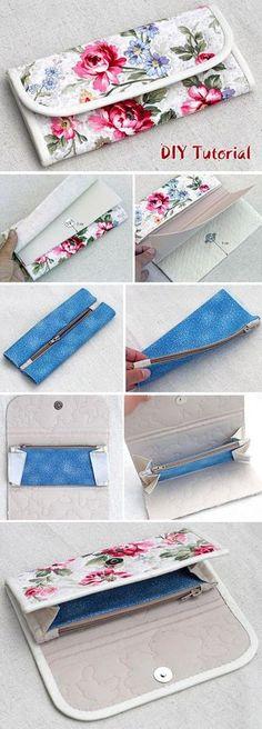 Accordion Women's Wallet / Clutch DIY Sewing Tutorial. http://www.free-tutorial.net/2016/12/accordion-fabric-wallet-tutorial.html