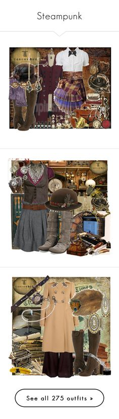 """""""Steampunk"""" by cherrygoodday ❤ liked on Polyvore featuring Miss Selfridge, Topshop, Frye, Alexis Bittar, Searle, Tarina Tarantino, Chiarugi, Timeworks, ELSE and SOLD Design Lab"""