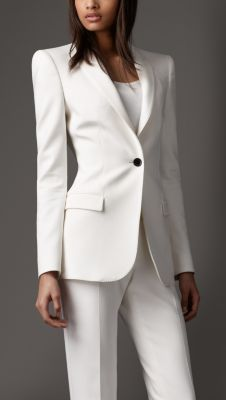 Everybody should have one. A classic white or French Vanilla Power Suit. Love the simplicity. Minimal Tailored Jacket http://us.burberry.com/store/womenswear/tailoring/tailoring/prod-38225331-minimal-tailored-jacket/