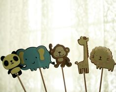 Jungle Cake Toppers Little Bits Homemade $10 | Perfect for birthday parties, baby showers and other kid friendly events!