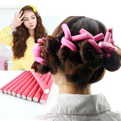 10PCS DIY Hair Curling Rollers Curler Hair Bands Soft Bendy Foam Roller Curlers For Women Girls Hair Headwear