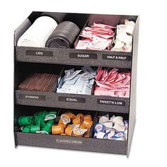 The Vertiflex Vertical Condiment Organizer features nine compartments to hold various condiments. This commercial-grade condiment organizer includes three shelves, six removable dividers and identifie