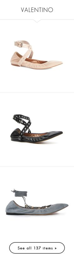 """""""VALENTINO"""" by battistella on Polyvore featuring shoes, flats, nude leather, nude flats, pointed toe ballet flats, pointed toe flats, ballet shoes, strappy flats, black leather y black ballet flats"""