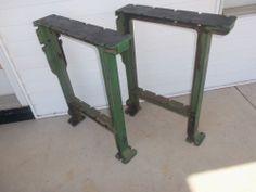 Vtg Industrial Cast Iron Table Kitchen Island Bench Legs Machine Age Orig Set GC