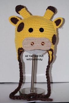 Handmade Crocheted Giraffe Hat.