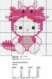 Flashup hello kitty cross stitch dragon