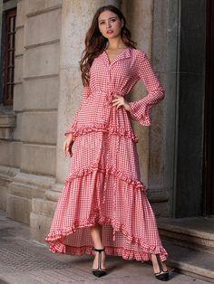 Stylish Red Plaids Bohemia Long Sleeve Turn Down Collar Maxi Skater Dress Stylish Dresses, Casual Dresses, Fashion Dresses, Beach Dresses, Summer Dresses, Formal Dresses, Maxi Dress Wedding, Dress Prom, Party Dress