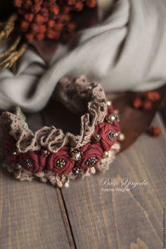 "Gorgeous ""Cranberry Tea"" textile flower cuff by Ksenia Wagner. Jewelry Crafts, Jewelry Art, Beaded Jewelry, Jewellery, Textile Jewelry, Fabric Jewelry, Homemade Bracelets, Fabric Bracelets, Lesage"