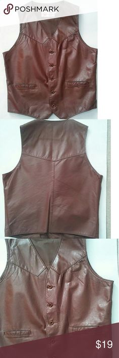 Vintage Men's leather vest Really great condition considering how old it is. No holes, minimal wear and tear. My husband who wears medium clothes wore it. leather shop Jackets & Coats Vests