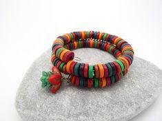 Wrap Bracelet Mykonos Ceramic Washer by DawnSneesbyJewellery