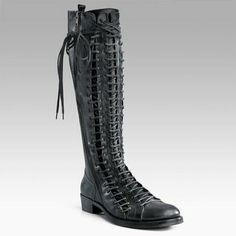 the holy grail: ann demeulemeester triple lace-up tall boots
