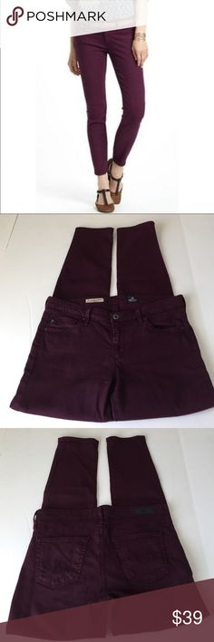 AG Adriano Goldshmied The Stevie Ankle, size 28 AG Adriano Goldshmied The Stevie Ankle in plum wine, size 28. Flat lay measure of the waist is 15.75. Rise is 8, inseam is 28, and leg opening is 5.75. Made from 55% cotton, 42% tencel, and 3% polyurethane. In overall very good condition, please ask if you have any questions. AG Adriano Goldschmied Jeans Ankle & Cropped