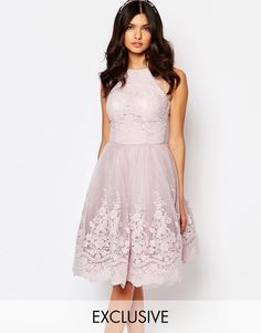 Image 1 ofChi Chi London High Neck Premium Lace Midi Dress