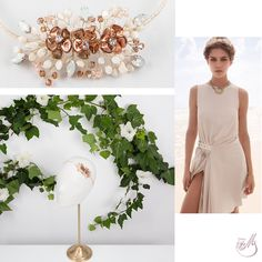 Nothing is better than #Champagne, because sometimes, all you need is a bit of glitz! This piece is adorned with light Colorado #topaz #Swarovski beads and amazing #copper colored delicate #flowers. Entirely made by hand, this ivory headpiece will mark your romantic, yet intriguing appearance. #meetmeinthegarden #capsulecollection