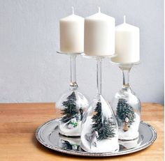 Christmas scene Wine glass candle holders. by Dayandnightwreaths