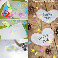Diy Crafts For Kids, Christmas Crafts, New Year Diy, Happy New Year Cards, Mail Art, Diy Cards, Party Invitations, Party Time, Paper Crafts