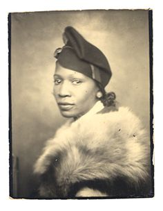 +~ Vintage Photo Booth Picture ~+ Elegant African American Woman.