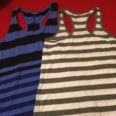 Express stripe tank top bundle This is a bundle of two striped express tanks. One is an xs grey and white stripe and the other is a small blue tank. Both in excellent condition Express Tops Tank Tops
