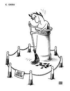 """INCHIS PENTRU CURATENIE"".  Caricatura de C. CIOSU, publicata in almanahul PERPETUUM COMIC '97 editat de URZICA, revista de satira si umor din Romania"
