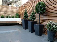 Sichtschutzzaun aus Holz und moderne große Pflanzenkübel aus Beton