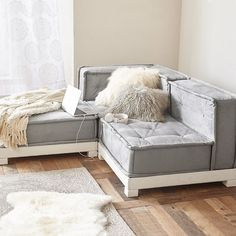 PB Teen Cushy Lounge Sectional, Cement Faux Suede at Pottery Barn Teen... ($776) ❤ liked on Polyvore featuring home, furniture, sofas, storage sofa, white sofa, home storage furniture, black furniture and storage couch