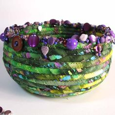 Violet Beaded Batik Wrapped Coil Basket by cowgirlrosie on Etsy, $45.00