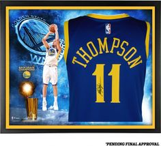 Klay Thompson Golden State Warriors Framed Autographed Blue Nike Swingman  Jersey 2018 NBA Finals Champions Collage ef6866209