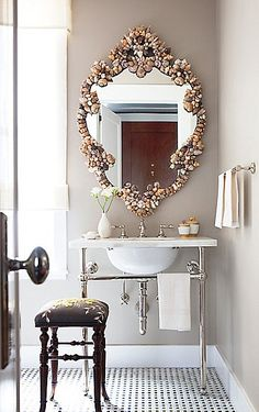 Sea Shell Mirror--maybe a DIY from shells we collect during summers in BBH?