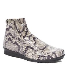 This Granite Snake-Embossed Leather Ankle Boot - Women is perfect! #zulilyfinds