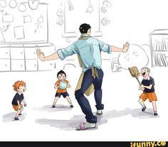 Daichi with little Hinata, Tanaka, and Nishinoya - Haikyuu! Manga Haikyuu, Haikyuu Karasuno, Haikyuu Funny, Nishinoya, Haikyuu Fanart, Hinata, Daisuga, Kagehina, Daichi Sawamura