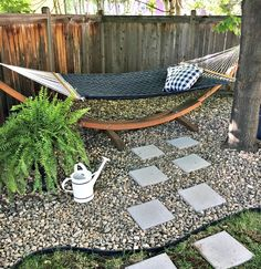 Create a beautiful new look for your backyard by adding a simple diy paver stone path and some new landscape edging. This easy tutorial explains it all! Small Backyard Design, Small Backyard Landscaping, Backyard Hammock, Landscaping Around Trees, Hydrangea Landscaping, Stone Landscaping, Driveway Landscaping, Backyard Designs, Landscaping Design