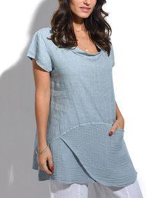 Look what I found on #zulily! Bluish-Gray Layered Scoop Neck Tunic - Plus Too #zulilyfinds