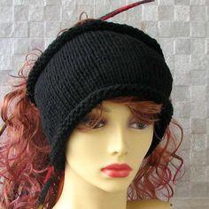 Hand Knit #headband Mens #headwrap Black #dreadlock tube Mens