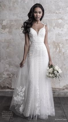 madison james fall 2018 bridal sleeveless thin strap deep sweetheart neckline full embellishment tulle skirt romantic soft a line wedding dress open back chapel train (3) mv -- Madison James Fall 2018 Wedding Dresses | Wedding Inspirasi #wedding #weddings #bridal #weddingdress #bride ~