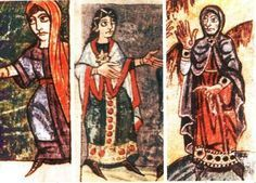 Women with a long tunic, belted, miniatures from the Stuttgart Psalter, to 900, from The Alemanni, exhibition catalog - not precisely Anglo-Saxon, but similar.