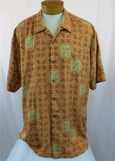 Tommy Bahama Mens Camp Shirt XLX TGT Silk Box Fern Pattern Orange Light Green | eBay $39.95