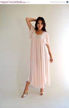 9d5cd94c7c1 Pink Vintage 70s Miss Elaine Nightgown Floaty Sheer Nylon Flutter Sleeves  L. Women LingerieVintage ...