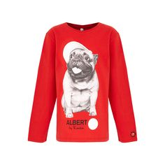 Red, kids', long-sleeved, unisex T-shirt featuring Albert the French bulldog in a baseball cap and created exclusively for Red Nose Day by renowned fashion and portrait photographer, Rankin.